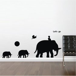 ColorfulHall Co., LTD - Kids Wall Decals Let's Go Three Elephant with Sun and Bird Jungle Animal - Kids Wall Decals Let's Go Three Elephant with Sun and Bird Jungle Animal