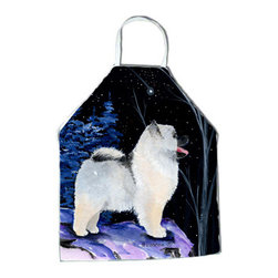 Caroline's Treasures - Starry Night Keeshond Apron SS8380APRON - Apron, Bib Style, 27 in H x 31 in W; 100 percent  Ultra Spun Poly, White, braided nylon tie straps, sewn cloth neckband. These bib style aprons are not just for cooking - they are also great for cleaning, gardening, art projects, and other activities, too!