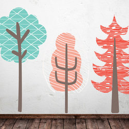 The Lovely Wall Co - Girls Large Trees Wall Decal Set - Large wall scape decal