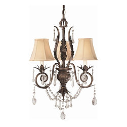 World Imports - Berkeley Square 3 Light Chandelier in Weather - Manufacturer SKU: WI75062. Bulbs not included. Beaded crystal. Stamped leaves. Bold crystal accents. Weathered Bronze finish. Berkeley Square Collection. 3 Lights. Power: 60w. Type of bulb: Candelabra. Weathered Bronze finish. 10 ft. Chain & 12 ft. Wire. Canopy 5.5 in. D. 16 in. D x 18 in. H (12 lbs.)