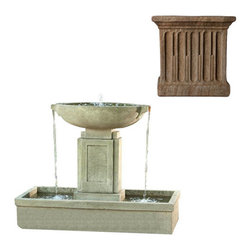 Campania International - Austin Fountain - Aged Limestone (AL) - The Austin Fountain (FT-206) from Campania International offers the best of two worlds. It has the traditional structure of a classic urn fountain and its clean spare lines make it an ideal water feature for the more modern minded client. And the 3 points of water flow make the sound just as appealing as its look. Made of cast stone. Pump included. Weight: 486 lbs. Main picture shown in Alpine Stone (AS)