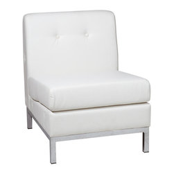 Avenue Six - Wall Street Armless Chair - White Faux Leather - Avenue Six Wall Street Armless Chair - White Faux Leather