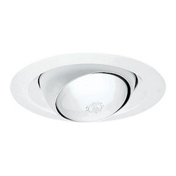 Juno Lighting Group - Economy Eyeball Trim for 6-Inch Recessed Housing - 249W-WH - This 6-inch eyeball is perfect for highlighting art on a wall or wall washing and is fully adjustable. The outer white ring has a gradual slope, allowing it to fit flush with the ceiling via the included spring clips. Damp location rated.