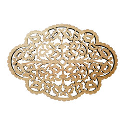 Intricate Scroll Design Wooden Trivet, Two Sided, Cherry and Maple Wood - This beautiful trivet can be used to set your warm dishes on to protect your counters and tabletops ..... or it is delicate enough to use it as a decorative wall hanging.