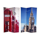 "Oriental Furniture - 6 ft. Tall Double Sided London Room Divider - Big Ben/Phone Booths - Bring home a pair of stylish images from  across the pond  with these fine art photo prints of unmistakable London icons. On the front is an image of ""Big Ben"", the famous clock tower of the British Houses of Parliament, it's unique geometry accentuated by the cleverly cropped photograph. On the back is a row of instantly recognizable bright red London telephone boxes in declining perspective. These interesting, unique, attractive images provide a beautiful decorative accent for any living room, bedroom, dining or kitchen. This three panel screen has different images on each side, as shown.High quality wood and fabric covered room divider. Constructed with extra durable kiln dried Spruce wood frame panels, and covered top to bottom, front, back, and edges with tough stretched poly-cotton blend canvasTwo extra large beautiful art prints. Printed with fade resistant, high color saturation ink, creating two stunning, long lasting, vivid images. A powerful visual focal points for any roomAn amazingly inexpensive, practical, portable decorative accessory. Almost entirely opaque, the layers of canvas provide complete privacy. Easily block light from a bedroom window or doorwayGreat home decor accent for dividing a space, redirecting foot traffic, hiding unsightly areas or equipment, or for providing a background for plants or sculptures, or use to define a cozy, attractive spot for table and chairs in a larger roomPanels are double hinged, to bend in either directionSimple, beautiful decorative art with a vintage feeling. A strong durable and practical high quality room divider great for home, office, or small business"