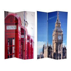 """Oriental Furniture - 6 ft. Tall Double Sided London Room Divider - Big Ben/Phone Booths - Bring home a pair of stylish images from across the pond with these fine art photo prints of unmistakable London icons. On the front is an image of """"Big Ben"""", the famous clock tower of the British Houses of Parliament, it's unique geometry accentuated by the cleverly cropped photograph. On the back is a row of instantly recognizable bright red London telephone boxes in declining perspective. These interesting, unique, attractive images provide a beautiful decorative accent for any living room, bedroom, dining or kitchen. This three panel screen has different images on each side, as shown."""