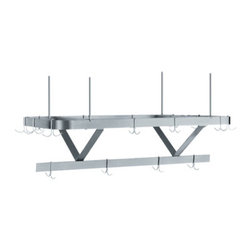 """Whitehaus Collection - Whitehaus CUSC36WHX 36"""" Culinary Equipment stainless steel pot rack - Satin Stainless Steel ceiling hung pot rack"""