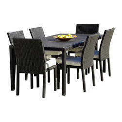 MangoHome - Outdoor Patio Wicker New All Weather 7 Piece Dining Table and Chair Set - This amazing outdoor dining set comes with 2 different pieces. It is very functional and can be arranged many different ways to meet your needs! Look at our pictures to view all of the possibilities! Each wicker set is hand crafted by trained professionals with premium quality materials assuring your set will last many years!