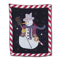 Patch Magic - Frosty Snowman Throw - 50 in. W x 60 in. L. 100% Cotton. Handmade, hand quilted. Machine washable. Line or flat dry only
