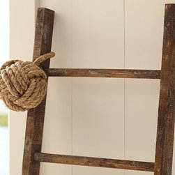 """Wood Ladder, 8' - Our rustic ladder creates a warm springtime display when festooned with botanical garlands, hanging plants or decorative lanterns. 19 x 96"""" high Display it against a wall or suspended from our jute rope."""