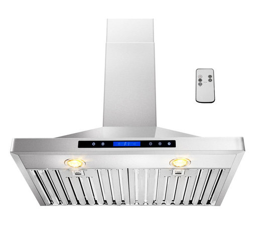 """AKDY - AKDY AG-ZB02 Euro Stainless Steel Wall Mount Range Hood, 30"""", Duct/Pipe - Let fresh air rule the kitchen. This AKDY 30"""" wall range hood features a new sleek, modern design with an easy to clean surface. It also offers 35-watt halogen lighting to illuminate your cooking surface and 3-speed settings to fit your cooking preferences. Optional recirculating kits are available. Model available in 30"""" and 36"""""""