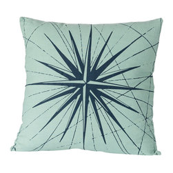 Cricket Radio - Montauk Compass Rose Pillow, Aqua/Navy - Guide your room in the right style direction. This handmade 20-inch-square pillow features a compass pattern printed in ecofriendly inks on Italian linen, a removable down insert and comes in your choice of colors to easily coordinate with your space.