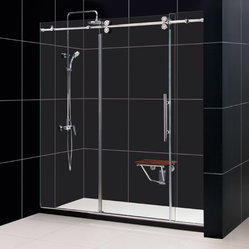 Dreamline - ENIGMA 72 x 79 Fully Frameless Shower Door Polished Stainless Steel - * Product Type: Shower Door