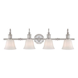 Quoizel - Quoizel Broadgate Bath Fixture, Brushed Nickel - BGT8604BN - Broad gate is a subtle yet sophisticated bath group. It features a lustrous Brushed Nickel finish that enhances the refined details on the bar and the opal etched glass provides optimum light.