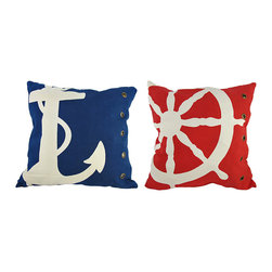 Pair of Red/Blue Riveted Nautical Throw Pillows 18 In. X 18 In. - This pair of pillows adds the finishing touch to your nautically themed room. The 100% cotton covers are removable and washable, and the pillow inserts are 100% polyester. The red pillow features an image of a ship`s wheel, while the blue pillow features an image of an anchor, and both have rivets down the side. Each pillow measures 18 inches by 18 inches, and adds a wonderful accent to your bedroom, couch, porch, patio, or boat.