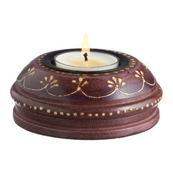 Everybody's Ayurveda - Wooden Hand Painted T-lite Holder in Adoosa Wood - Purple - Purple Wooden Embossed Painted Tealight Holder. Adoosa Wood. Package Includes: T-lite Holder Only. Dimensions: Width: 3.5 inch. Height: 1.25 inch.