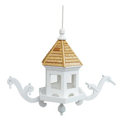 Home Bazaar Inc. - Wingdale Hanging Feeder - This style features two perches with double bars and a pine shingled roof. The top slides up along a durable nylon cord to allow for easy filling. Constructed of kiln-dried hardwood and finished with an outdoor, non-toxic paint. Some minimal assembly required. Will attract all types of wild birds.