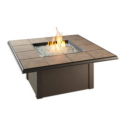 "The Outdoor Greatroom - Napa Valley Square Gas Fire Pit Table With Brown Metal Base - The Napa Valley square fire pit table features a classic design and is easily customizable. Choose from a brown metal base with either brown metal side panels or brown wicker side panels, and a gorgeous slate-like porcelain tile top with beautiful swirls of browns, tans and greys; Or from a black metal base with either black metal side panels or black wicker side panels, and an elegant black granite tile top. Either tile top easily comes out in order for you to add your own personal ""tile-touch"" or color. This fire pit table comes with a rectangular 24x24 inch stainless steel Crystal Fire Burner that will truly light up the night and add warmth to your outdoor space. These burners are made from high quality stainless steel and include tempered, tumbled glass, an LP hose and regulator, a metal flex hose, a gas valve, and a push button sparker. With just a push of a button, a beautiful clean-burning fire appears atop a bed of highly reflective Diamond glass fire gems. All burners are shipped with orifices for LP or NG fuels and are UL approved for safety and quality. Adjust the flame height to your desired setting and enjoy the magic and ambience of a warm glowing fire."