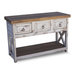 "FoxDen Decor - Farmhouse Vanity with 3 Drawers, 36x20x32 - A beautifully handcrafted farmhouse vanity with the popular ""X"" style legs. This vanity can be made into a single or a double sink, depending on the dimensions. The sink can be placed anywhere as well, and we will make the corresponding drawer false to allow for plumbing. The vanity is finished in a distressed white with milk paint and a hand rubbed paste wax. The shelf underneath is perfect for baskets, towels or other decor."