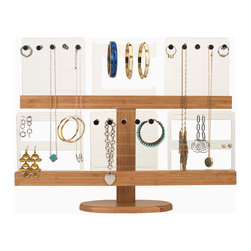 Great Useful Stuff - Deluxe Bamboo Jewelry Organizing Stand - Eco-friendly Bamboo Stand designed to hold 6 acrylic slides that accommodate different types of jewelry. One slide is designed to hold earrings, another for bracelets, and the third style keeps necklaces untangled. Two of each style slide are included.