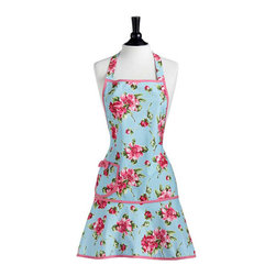 Jessie Steele - Jessie Steele Pink Magnolias Carmen Apron - Inspired by the beauty and elegance of a magnolia, the Pink Magnolias Carmen Apron captures the essence of a floral paradise against a sky blue background. Trimmed in pink, this classic Carmen Apron features a side pocket with bow and ties at the neck and waist.
