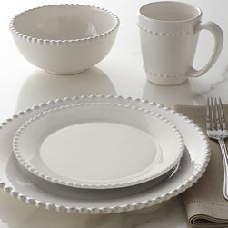 Horchow - 16-Piece Bianca Beaded-Edge Dinnerware - WHITE - 16-Piece Bianca Beaded-Edge DinnerwareDetailsDinnerware made of earthenware.Dishwasher safe.Service includes four four-piece place settings.Imported.