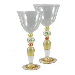 Mosaic Gold Garland Wine with Raised Dots Glasses Set of 2 - This is a mouth blown wine glass that has raised glass is hand painted and is from our Mosaic collection and inspired by the colorful tiles of the Alhambra.  Something to be handed down from generation to generation. Proudly hand painted in the USA.
