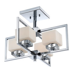 Quoizel - Quoizel WIN1718C Wain Semi-flush Mount Ceiling Light - Industrial meets chic with the Wain series.  The etched opal glass shades are uniquely framed to enhance the overall design and it is finished in a sleek Polished Chrome.
