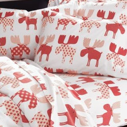 Garnet Hill - Garnet Hill Chrismoose Flannel Bedding - Double - Moose Print - These whimsical flannel sheets are kitsch at its best, sporting a playful moose collage in an eye-catching mix of contemporary patterns in vintage-holiday shades. Bedding is pure cotton, brushed for softness. Fitted sheet is fully elasticized for a better fit.