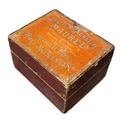 Antique French Clock Box - Tuck your treasures away in this antique orange wooden clock box. Brought to use by the dynamic design duo at Catherine Macfee Design, this is the perfect piece of vintage French decor for your dresser or table top.