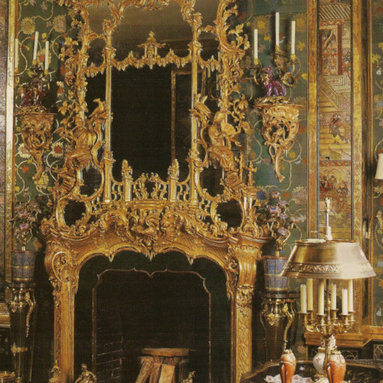 English rococo fireplace mantel and mirror -