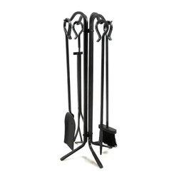 Woodeze - 5 Piece Black Wrought Iron Fireplace Tool Set - 5 Piece Black Wrought Iron Fireplace Tool Set