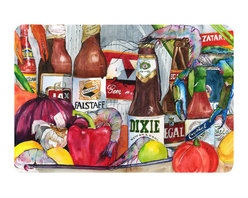 Caroline's Treasures - New Orleans Beers And Spices Kitchen Or Bath Mat 20X30 - Kitchen or Bath COMFORT FLOOR MAT This mat is 20 inch by 30 inch.  Comfort Mat / Carpet / Rug that is Made and Printed in the USA. A foam cushion is attached to the bottom of the mat for comfort when standing. The mat has been permenantly dyed for moderate traffic. Durable and fade resistant. The back of the mat is rubber backed to keep the mat from slipping on a smooth floor. Use pressure and water from garden hose or power washer to clean the mat.  Vacuuming only with the hard wood floor setting, as to not pull up the knap of the felt.   Avoid soap or cleaner that produces suds when cleaning.  It will be difficult to get the suds out of the mat.