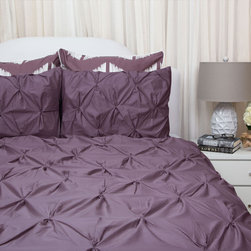400 Thread Count Pintuck Duvet Cover, The Valencia Plum Purple - Full of volume and elegance, this 400 thread count gray pintuck duvet will add textural dimension to subtly bring your room to life.  Multiple pintucks are sewn to perfection.