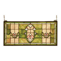 Meyda - 24 Inch W x 11 Inch H Tulips Transom Windows - Color theme: Yajalt jaw beige 59