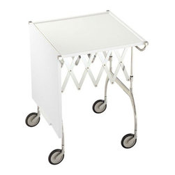 Kartell - Battista Trolley - Wow your guests by wheeling out this ultramodern trolley. Both foldable and extendable, this exquisite trolley table is ideal for buffets, beverage service or any impromptu occasion that calls for additional surface space.