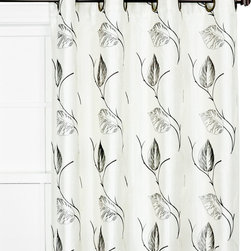 Ellis Curtain - Onyx Leaf-Embroidered Astonish Curtain Panel - These lined curtain panels boast elegant faux silk fabric for an extra-soft look and feel. Their unique construction softly diffuses daylight and ensures a smooth draping effect.   Includes one panel 100% polyester Dry clean Imported