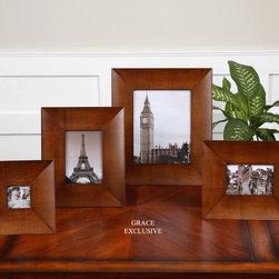 Botan, Photo Frames, S/4 - Medium wood tone veneer. Holds photo Sizes: 3×3, 4×6, 5×7 & 8×10
