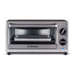 Westinghouse - Westinghouse 4-Slice Toaster Oven - This Westinghouse four-slice toaster oven features an adjustable temperature control from 200 to 450 degrees Fahrenheit,a 60-minute timer and a stay-on feature. The spacious toaster allows you to bake,broil,toast and keep food warm.