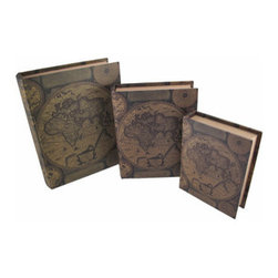 Set of 3 Antique World Map Themed Book Stash Boxes - This set of 3 antique world map themed books is actually a set of secret stash boxes that allows you to store private things out in the open. The wooden boxes have canvas coverings that feature maps, charts, and notes. The largest box measures 12 inches tall, 9 1/2 inches wide, 2 3/4 inches thick, the middle box is 10 inches tall, 8 inches wide, 2 1/4 inches thick, and the smallest measures 8 inches tall, 6 1/4 inches wide, 1 3/4 inches thick. They are great for stashing small valuables, and fit right in with the rest of your books on a shelf or bookcase, or stacked on an end table. This set is also a great gift for a friend.