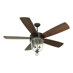 """Craftmade - Fredericksburg Ceiling Fan by Craftmade - Classic Colonial style meets modern air circulation both indoors and out. The Craftmade Fredericksburg Ceiling Fan features five walnut blades, spanning 60"""" around the distinctive large Clear Seeded glass shade. The speed and direction of the motor and brightness of the light kit are controllable with the included remote. For more than 25 years, Craftmade has crafted ceiling fans and lighting fixtures that are """"better by design."""" The heavy-duty motors and quiet, balanced operation of Craftmade fans ensure maximum efficiency and long-lasting functionality, while rich detailing adds beauty to every Craftmade design."""
