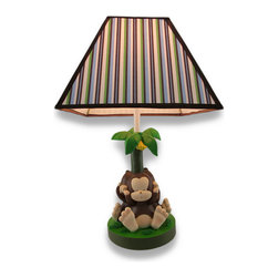 Zeckos - Baby Monkey See, Speak, Hear No Evil Table Lamp 17 In. - This cute table lamp features a trio of baby monkeys sitting back to back around a banana tree, portraying the classic see, speak, and hear no evil poses. It measures 17 inches tall, has a 5.5 inch diameter base, and the coordinating striped shade measures 10 x 10 inches. The lamp uses a 60 watt (max) type A bulb (not included), and has a white 5 foot power cord with a thumb wheel switch. This lamp is a great addition to children's rooms and nurseries and it is sure to be adored.
