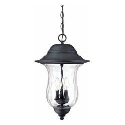 Volume Lighting - Volume Lighting V8712 Aurora 3 Light Outdoor Pendant - Three Light Outdoor Pendant from the Aurora CollectionFeaturing bold antique iron and delightful water glass, this 3 light outdoor pendant is the perfect addition to your outdoor d�cor.Features: