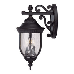 Savoy House - Savoy House 5-60323-186 Castlemain Wall Mount Lantern - An incredibly versatile and economical group with Clear Watered glass, available in a variety of sizes, plus post and hanging. Also available in Energy Star with Tuscan glass. Black with Gold finish and Clear Hammered glass.