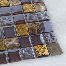 2013 New glass stone metal blend mosaic tile for bathrooms CTN0001 - Material: glass and stone