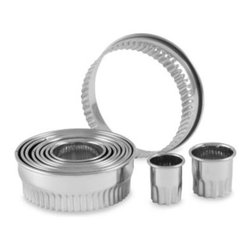 """Culinary Institute Of America - Culinary Institute of America 11-Piece Fluted Cutter Set - Cutter set contains 11 graduated sizes from 7/8"""" to 3 3/8"""" so it covers all the cutting bases for cookies, tarts, puff pastries, biscuits and more."""