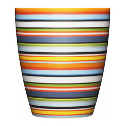 Iittala - Origo Tumbler Orange - Whether you're sipping coffee, tea or juice, the cheerful stripes on this tumbler will leave you smiling. The vibrant color combination may remind you of a summer beach towel, but this look will stay fresh throughout the year. And you won't have to worry about cleanup since they're dishwasher safe.