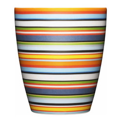 Iittala - Origo Tumbler, Orange - Whether you're sipping coffee, tea or juice, the cheerful stripes on this tumbler will leave you smiling. The vibrant color combination may remind you of a summer beach towel, but this look will stay fresh throughout the year. And you won't have to worry about cleanup since they're dishwasher safe.