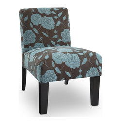 DHI - Deco Accent Chair - Rose - AC-DE-LC023-9A - Shop for Living Room Chairs from Hayneedle.com! The Deco Accent Chair Rose spruces up that lonely recliner or empty corner with a plethora of panache. Its charming fabric upholstery features a captivating rose pattern that's available in your choice of blue grey ivory or purple. It is supported by a sturdy frame constructed from solid kiln-dried hardwood. A soft-but-firm high-density foam padding provides plenty of comfort. The legs are finished in a rich espresso.About DHICreating products that celebrate modern decor as well as modern living DHI likes to think of themselves as nice modernists in terms of product quality and craftsmanship offered at an affordable price. This helps brings life to decors of all types and celebrate all modern designs individually. DHI's main goal is to provide products that help pull a room together and accentuate each the style of any home.