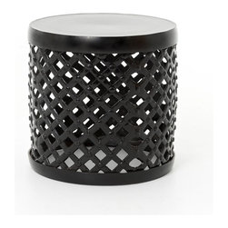 "Four Hands - Marlow 18"" Drum Stool, Black - Add extra seating that's truly extraordinary to your eclectic home. This cool stool is made of cross-hatched metal and studded for exciting standout style."